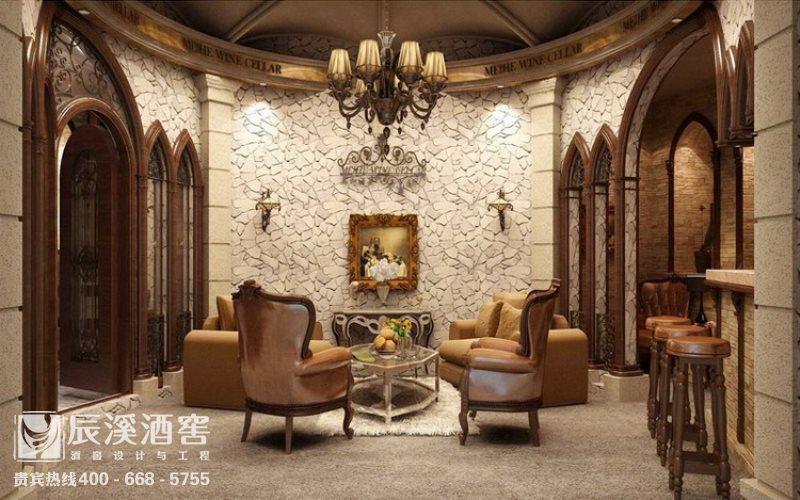 别墅酒窖设计与工程案例-品酒区传统风格