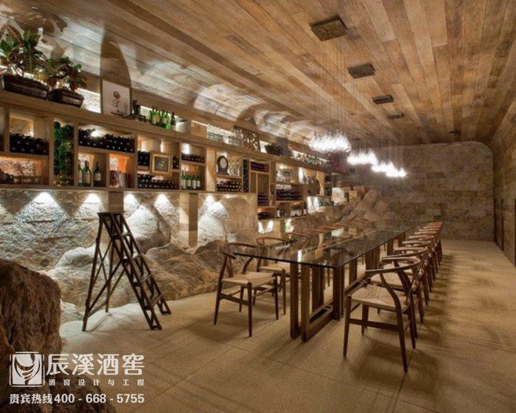 会所酒窖设计与工程案例-品酒区原生态风格